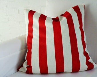 """17x17"""" Red and White Stripe Pillow Cover"""