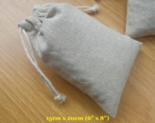 "50 pcs 6""x8"" Large Gift Bags Plain Natural Cotton Linen Bags Draw String Bags Reusable Grocery Bags"