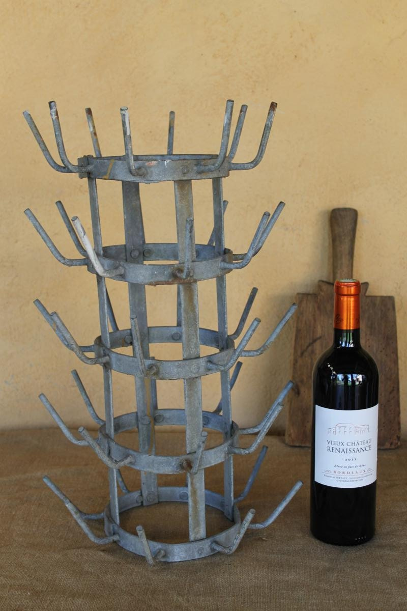 metal wine bottle drying rack industrial decor french. Black Bedroom Furniture Sets. Home Design Ideas