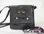 Messenger Bag Black Leather Medium Purse Handbag Card Bag Goth