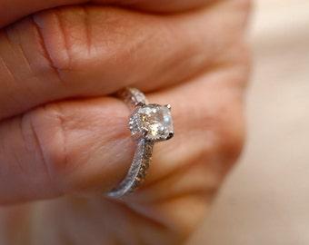 Genuine White Sapphire Engagement Ring