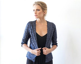 Sequin blue open Jacket with long sleeves, Long sleeves sparkling jacket 2014