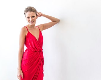 Red sexy maxi wrap dress , Sleeveless red wrap gown