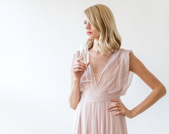 Pink dots chiffon sheer dress, Sheer blush dress with small sleeves