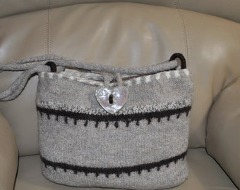 SOLD Shades of Brown Felted Wool Purse  in a new design