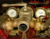 Vintage Firetruck Water Valve, Pressure Gauge, Hose Coupling, Water Flow Control, Steampunk Photo, Gift For Fireman