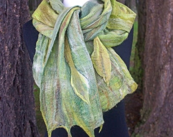 Felted Scarf. Woodland. Made to order. Leaves. Cobweb Felted Scarf. Hand Dyed Silk & Merino Wool.