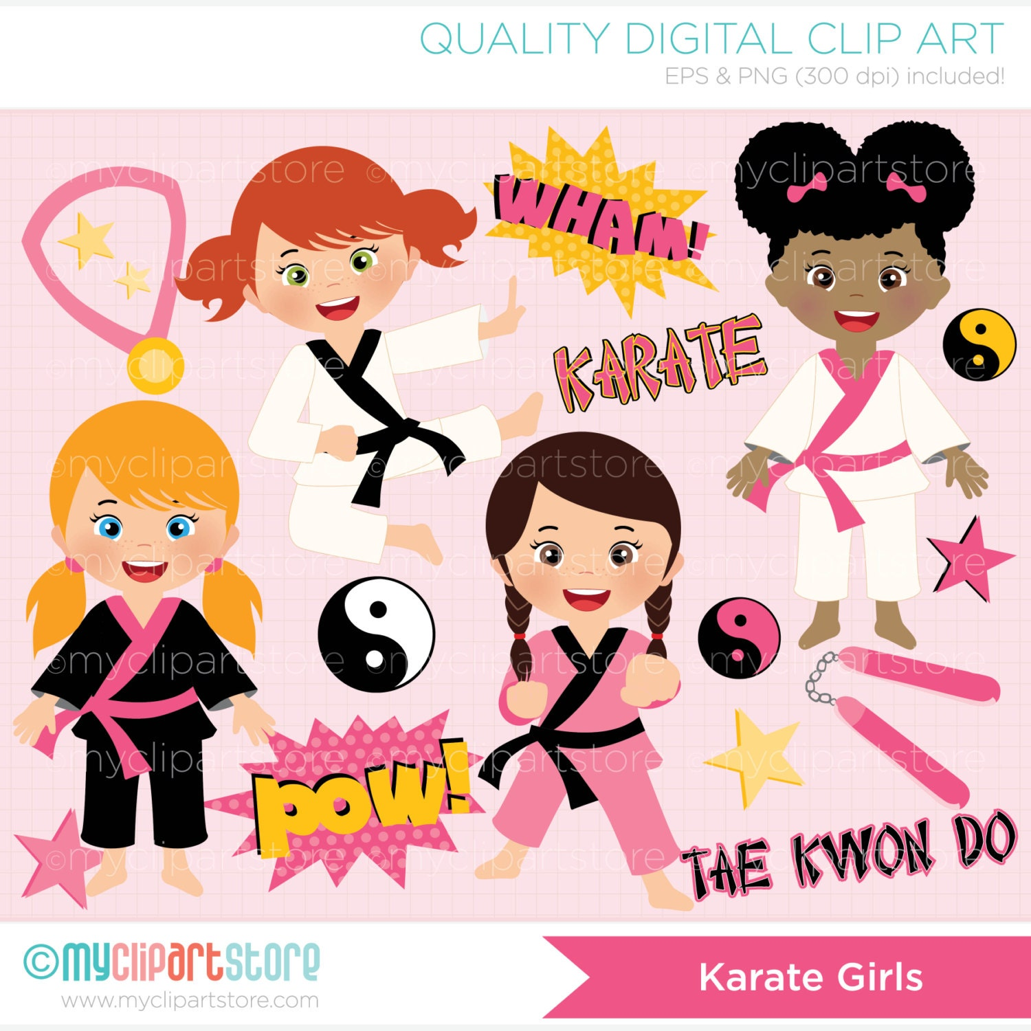 clipart tae kwon do karate girl digital clip art