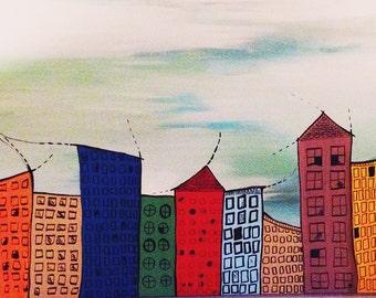 HUGE 36x48'' Original Artwork - Hand-painted City Scape