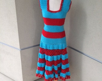 Turquoise & Cherry Day Dress