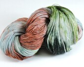 Yarn Hand Dyed Sock Wool Nylon Green Rust Pastel Spring 2343