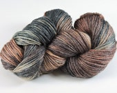 Hand Dyed Yarn Neutral Earthtones Brown Copper Olive Wool Bamboo 2436