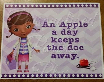 Doc McStuffins an apple a day keeps the doc away Sign: Instant Download & Printable
