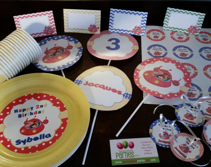 Little Einsteins birthday party pack: banner, plates, cups, centerpieces, thank you tags, water bottle labels, stickers and food tents