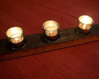 Wine Stave Three Silver Mercury Glass Votive Holders