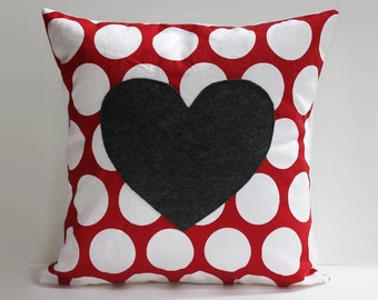 polka dot heart pillow cover // red and white polka dot pillow //16X16 cushion cover //16 inch pillow cover //heart home decor //love pillow