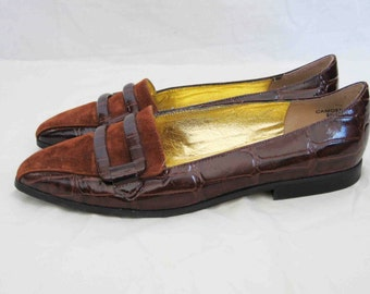 Beautiful Vintage Gator and Suede Loafers, Woman's 9