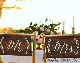 Wedding Chair Signs, Mr and Mrs Chair Signs, Bride Groom Chair Signs, Mr and Mrs Wedding Signs, Mr Mrs chair Signs, Mr Mrs Signs Wood