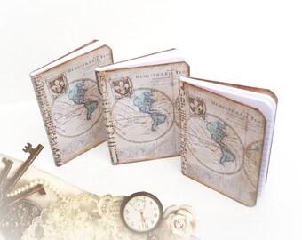 Travel Wedding Favors - Personalized Mini Travel Journals - Antique Map Favors - Mini Notebooks - Destination Wedding Favor Set