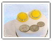 Clip-on Button  Earrings  - Vintage Mad Men Yellow Rhinestone  E2190a-082012000