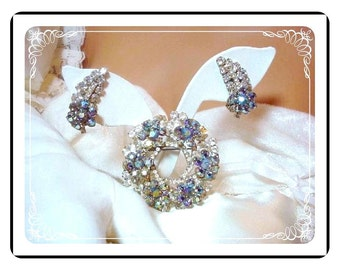 D & E Juliana Demi Parure - Sensuous Blue Rhinestone Brooch and Earrings Set   Demi-524a-100107040