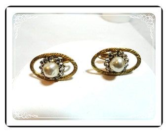 Hard to Find - Signed Haskell Earrings - Pearly White Bead Flower - Goldtone Frame Adjustable Earrings  E511a-071512000