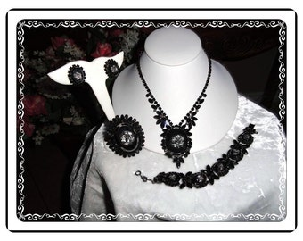 D&E Black Rose Parure  - Breathtaking Cameo DE Juliana   Para-583a-032814168