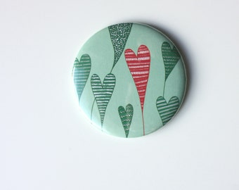 Growing Hearts Pocket Mirror / Heart illustration / round compact mirror / romantic gift / Valentine's Day gift / graphic accessory