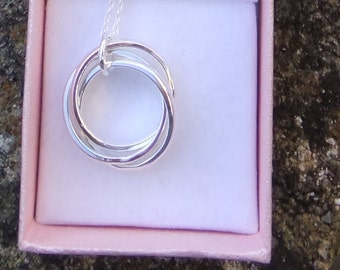 Sterling silver Russian wedding ring necklace, three ring necklace, Trinity necklace