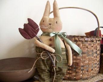 Primitive Grungy Chester Spring Rabbit Hanger Shelf Sitter Fabric Art