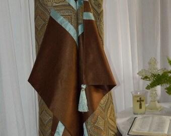 Men's or Women's Prayer Shawl:   Blue & Brown