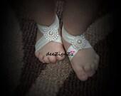 Baby Barefoot Sandals, Ivory, Rhinestone, Baby Shoes, Baptism Shoes, Wedding, Christening Shoes, Pearls ans rhinestones, Sparkle, Fancy Shoe