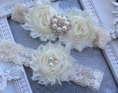 NEW-Pearl Cluster, Ivory Garter Set, Garter Belt, Wedding Garter Set, Vintage Garter, Bridal Garter, Garder, Wedding Garder, Rustic, Glam