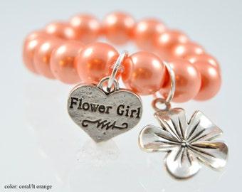 Beach Flower Girl Pearl Bracelet with Flower, Wedding Jewelry, Destination, Children's Jewelry, Stretchy, 5 petal Flower