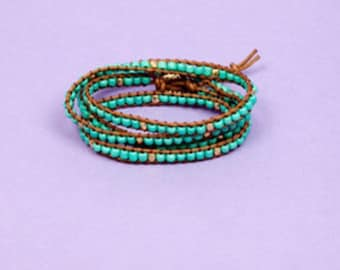 Turquoise Beaded Wrap Bracelet // Arm Party // Arm Candy