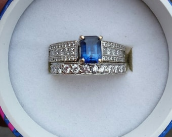 18k Gold Diamond Blue Sapphire Wedding Set Comes with Appraisal for 2700