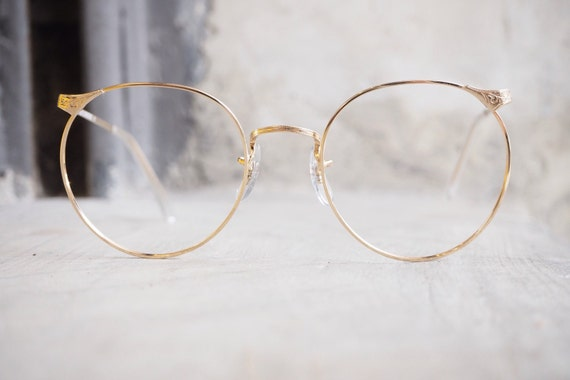 Eyeglass Frames Made In The Usa : Vintage Eyeglass by Artcraft Made In USA Gold Color Frames