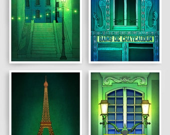 Any FOUR Prints - Save 30%,Set of four Illustrations,Paris Illustration Art Print Posters Home decor Wall art Mixed media Paris Architecture