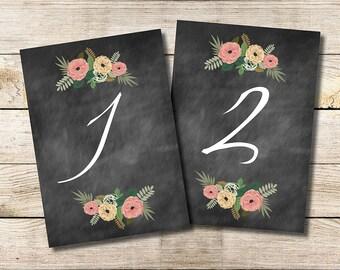 Printable Table Numbers (1-30)  INSTANT DOWNLOAD // Wedding // Bridal Shower // 5x7 // Rustic // Chalkboard // Vintage Floral