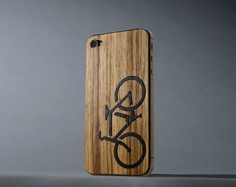 Black Limba Bicycle Inlay iPhone 4/4s Real Wood Skin - Made in the USA - FREE Shipping