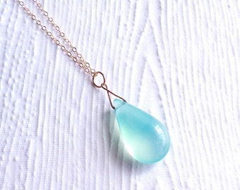 Peruvian Chalcedony Smooth Teardrop Necklace in 14k Gold Filled
