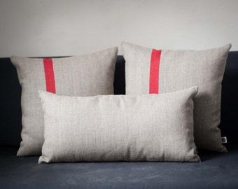 Decorative pillow covers set of 3 - Color block pillows Linen cushion case/Natural linen pillow covers Small lumbar and 16x16  pillows 0197