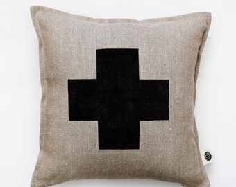 Black cross pillow cover - grey linen - decorative covers - throw pillows - shams 14x14/16x16/18x18/20x20   0150