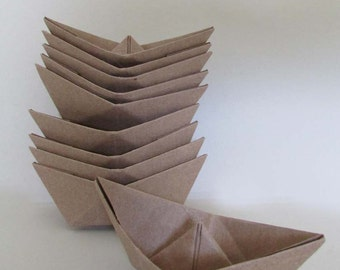10 paper boat origami  kraft sail boats summer beach party dream wedding birthday cake topper