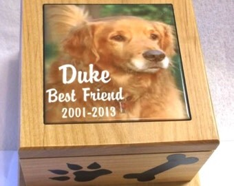 "6""x6""pet urn, animal ashes box, wooden urn, dog urn, cat urn, memorial box, memory box, memory urn, photo urn, picture urn"