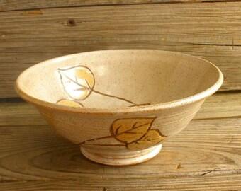 Aspen Leaf Stoneware Pottery Bowl