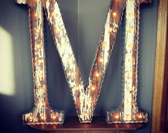 """Reclaimed Barnwood Marquee Alphabet Letters with Reclaimed Tin- 24"""""""