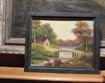 Signed Vintage Painting on Wood, Church and Bridge Country Scene, Monti