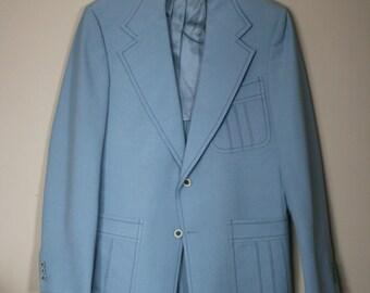 vintage men's powder blue leisure jacket sport coat size 42 JC Penny