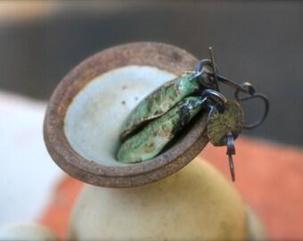 Rustic *Leaf* Earrings  nature earrings n62 - handmade ceramic  leaf . green lovers . solid copper . elongate artisan ceramic leaf . wild